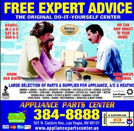 Do it yourself appliance parts Las Vegas, henderson Nevada, north las vegas, Boulder City Nv